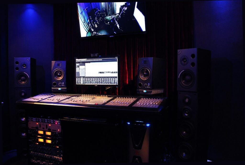 Mixing Desk, Control Room, Racks, Speakers