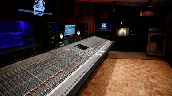 Large recording studio mixing desk