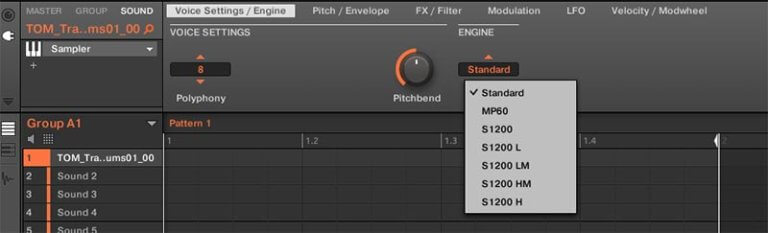 Maschine settings, vintage hardware emulation