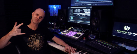 Music Producer, Tom Watson in the recording studio at Current Sound, Hollywood, Los Angeles
